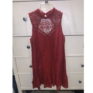 Abercrombie & Fitch Sheer Lace High Neck Dress-XS